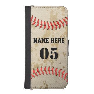 Base-ball vintage frais clair coque avec portefeuille pour iPhone 5
