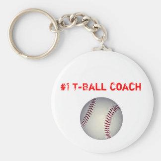 baseball, #1 T-Ball Coach Basic Round Button Keychain