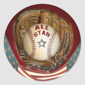Baseball All Star Round Sticker