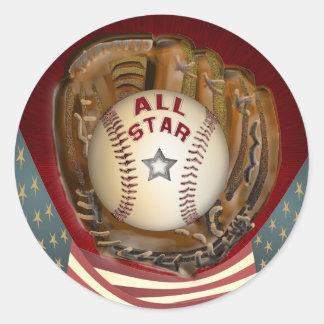 Baseball All Star Round Sticker