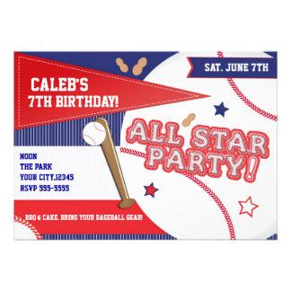 Baseball all star sports birthday party invitation