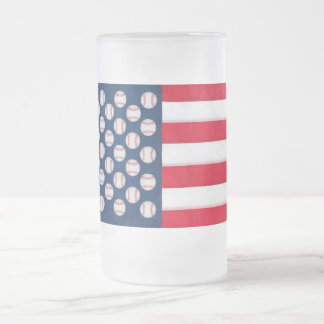 Baseball & American flag frosty mug