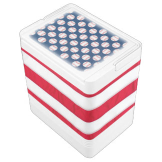 Baseball & American flag igloo cooler