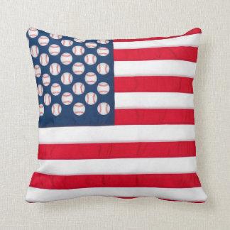 Baseball & American flag pillow