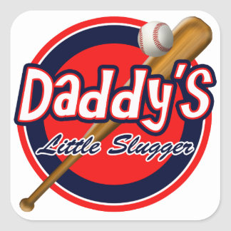 Baseball and Bat Daddy's Little Slugger Square Sticker