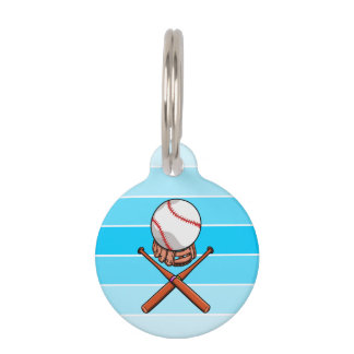 Baseball and Bats Forming A Jolly Roger Pet Tags