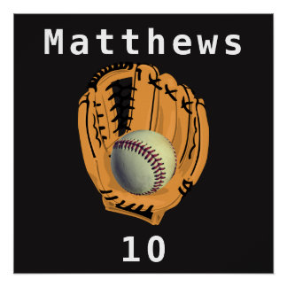 Baseball and Glove Mitt Name Number Poster