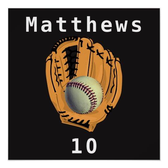 Baseball and Glove Mitt Name Number Poster
