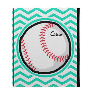 Baseball Aqua Green Chevron iPad Folio Covers