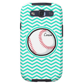Baseball Aqua Green Chevron Galaxy S3 Cases