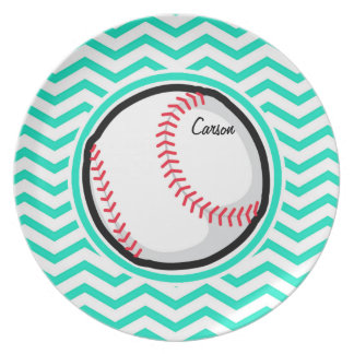 Baseball Aqua Green Chevron Plates
