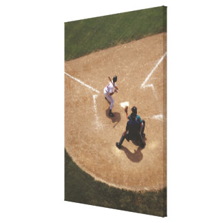 Baseball at Home Plate Stretched Canvas Print