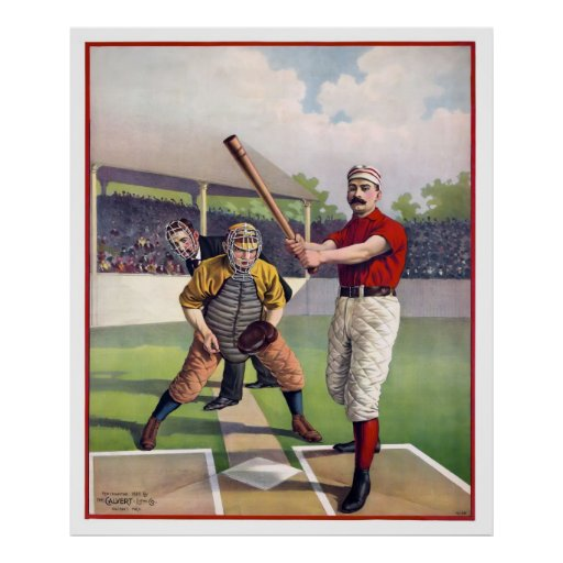 BASEBALL at HOME PLATE in 1895 Posters