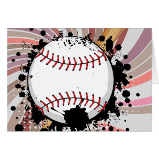 Baseball Ball on Background with Rays4 Card
