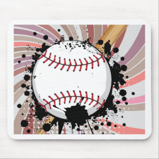 Baseball Ball on Background with Rays4 Mouse Pad