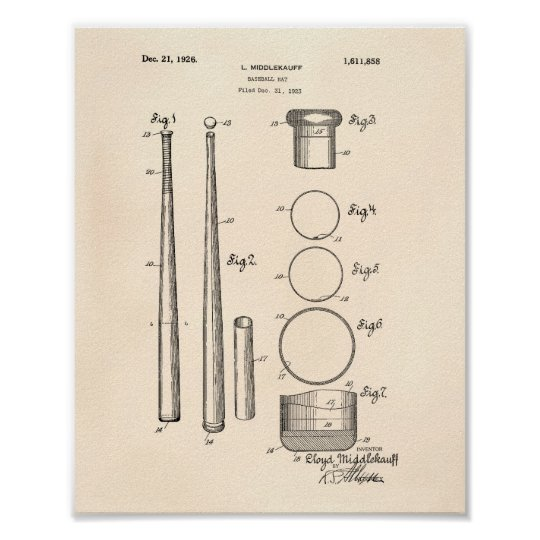 Baseball Bat 1926 Patent Art - Old Peper Poster