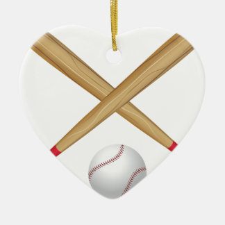 Baseball Bat and Ball Ceramic Ornament