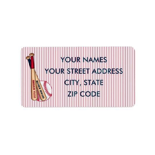 Baseball Bats Red Stripes Mailing Labels-HOWARD 01 Label