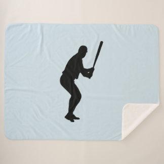 Baseball Batter Blue Sports Sherpa Blanket