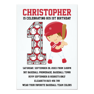 Baseball Batter Red White 1st Birthday Party Card