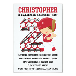 Baseball Batter Red White 2nd Birthday Party Card