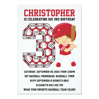 Baseball Batter Red White 3rd Birthday Party 5x7 Paper Invitation Card