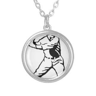 Baseball Batter Silver Plated Necklace