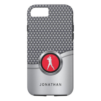 Baseball Batter Sporty Metallic Look with Name iPhone 8/7 Case