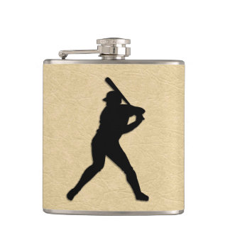 Baseball Batter Up Tan Leather Look Hip Flask