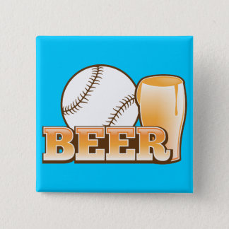 BASEBALL & BEER design by The Beer Shop 2 Inch Square Button