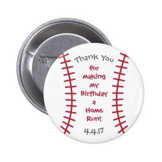 Baseball Birthday Button- Sports Related Bday 2 Inch Round Button