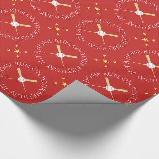 Baseball birthday custom text red wrapping paper