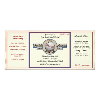 "Baseball Birthday Field Pass 4"" X 9.25"" Invitation Card"