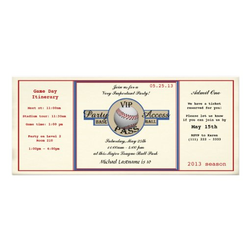 Baseball Birthday Field Pass Party Access Personalized Invites