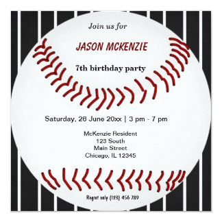 "Baseball Birthday 5.25"" Square Invitation Card"