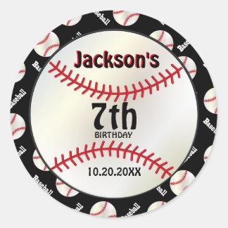 Baseball Birthday on Black | Personalize Round Sticker