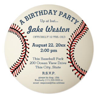 "Baseball Birthday Party 5.25"" Square Invitation Card"