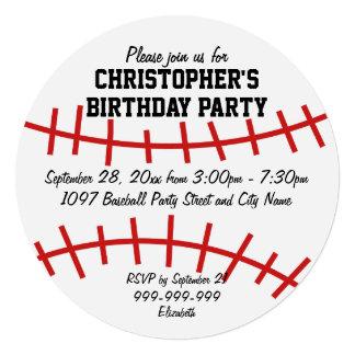 "Baseball Birthday Party 5.25"" Square Invitation Card"