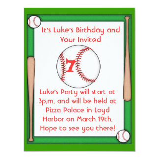 Baseball Birthday Party Invitation Boys & Girls