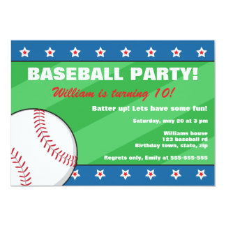 Baseball birthday party invitation for kids
