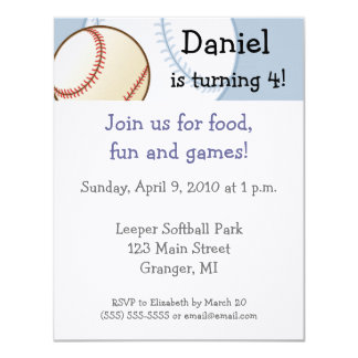 "Baseball Birthday Party Invitations  4.25"" x 5.5"""
