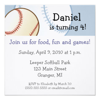 "Baseball Birthday Party Invitations - 5.25""x5.25"""