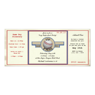 "Baseball Birthday Party Pass 4"" X 9.25"" Invitation Card"