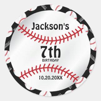 Baseball Birthday  | Personalize  - DYI Color Round Sticker