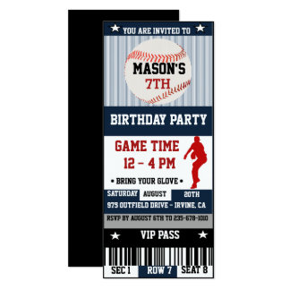 Baseball Birthday Ticket Invitation
