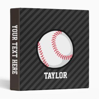 Baseball; Black and Dark Gray Stripes Vinyl Binder