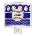 Baseball Blue Chevron Personalized Nite Lite