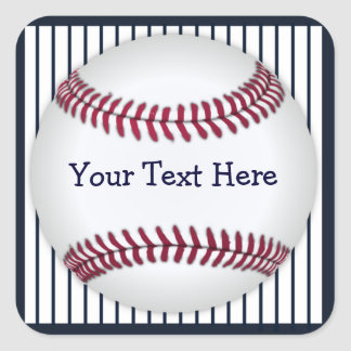 Baseball Blue Pin Stripes Personalized Square Sticker