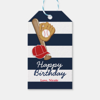 Baseball Blue Striped Birthday Party Gift Tag Pack Of Gift Tags