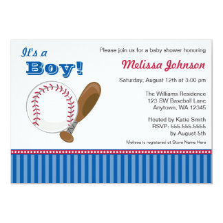 Baseball Boy Baby Shower Invitations